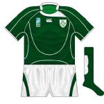 IRELAND: The same Canterbury template as the other countries but with one small difference - no stripe just below the grip-tape. Oddly, this stripe was on the Ireland shirts for the 2008 and '09 Six Nations.