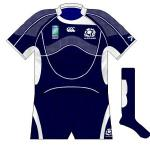 SCOTLAND: Navy shorts remained while the design was upgraded to Canterbury's predominant style for this World Cup.