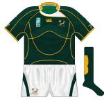 SOUTH AFRICA: Dare we say it, but white looked almost out of place on a Springboks jersey. Otherwise, the colours followed the pattern of the other Canterbury sides, including the odd shape on the socks.